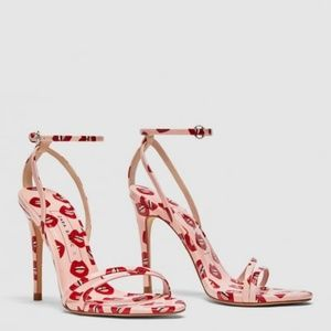 Zara Lip Mouth Print Sandal High Heel Ankle Stra
